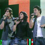 Fran Dieli, Sandra Polop y Guillermo Martín, concursantes de 'Operación Triunfo 2005'
