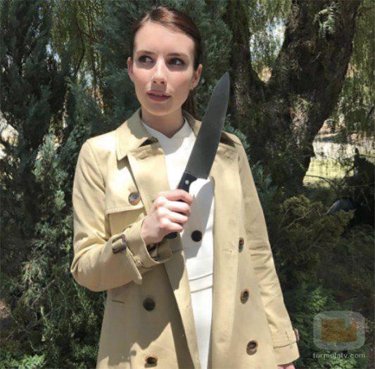 Emma Roberts en el set de rodaje de 'AHS: Cult'