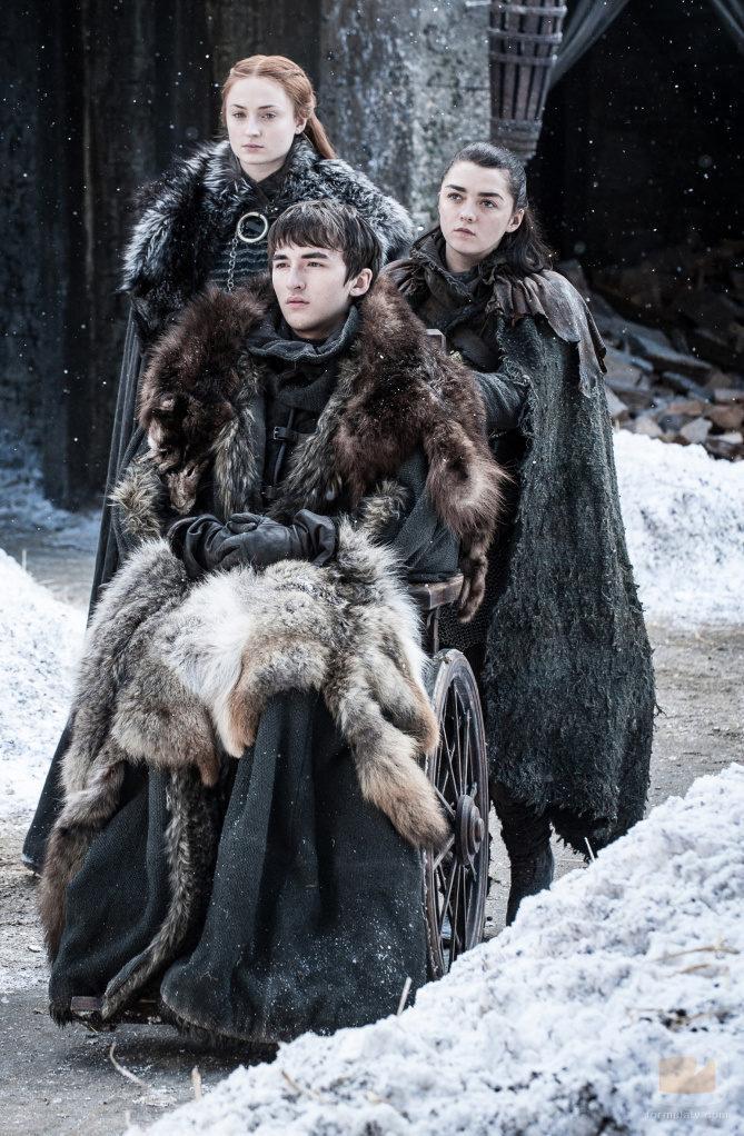 Sansa Stark, Arya Stark y Bran Stark en el 7x04 de 'Juego de Tronos'