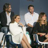 Manuel Martos, Joe Pérez-Orive, Mónica Naranjo y Noemí Galera sentados juntos en la presentación de 'OT 2017'
