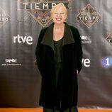 Francesca Piñón, actriz de 'El Ministerio del Tiempo', posa en el FesTVal vestida de negro