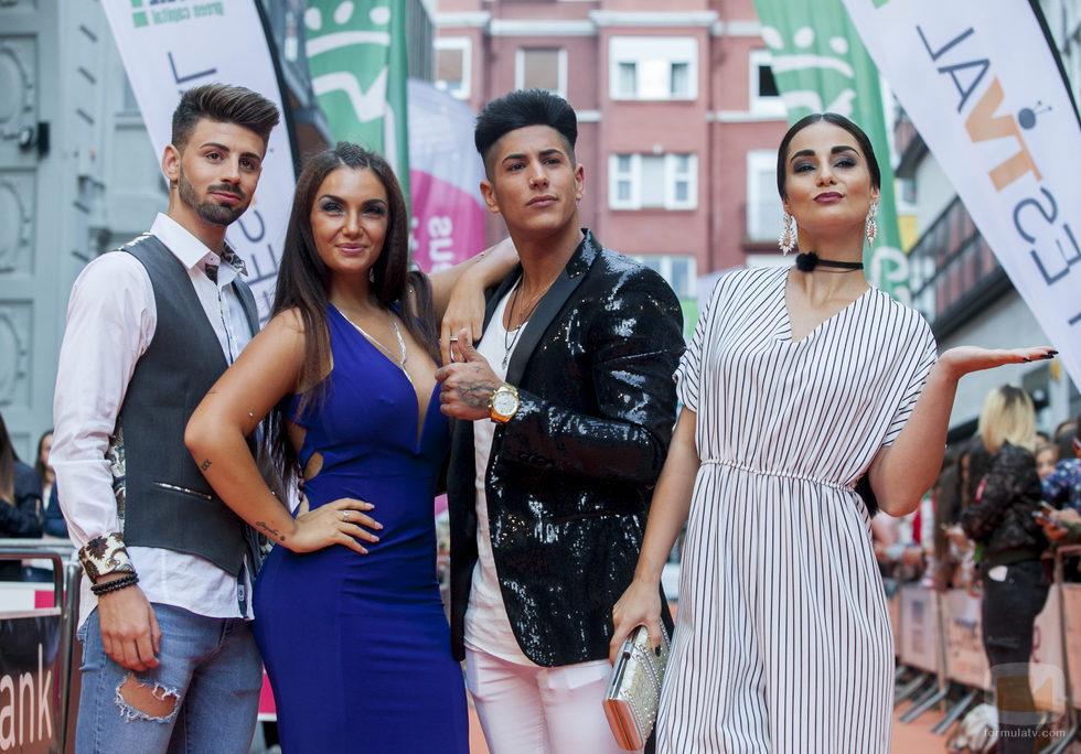 Isaac, Elettra Lamborghini, Ferre y Adela, participantes de 'MTV Super Shore 3', en la alfombra naranja del FesTVal