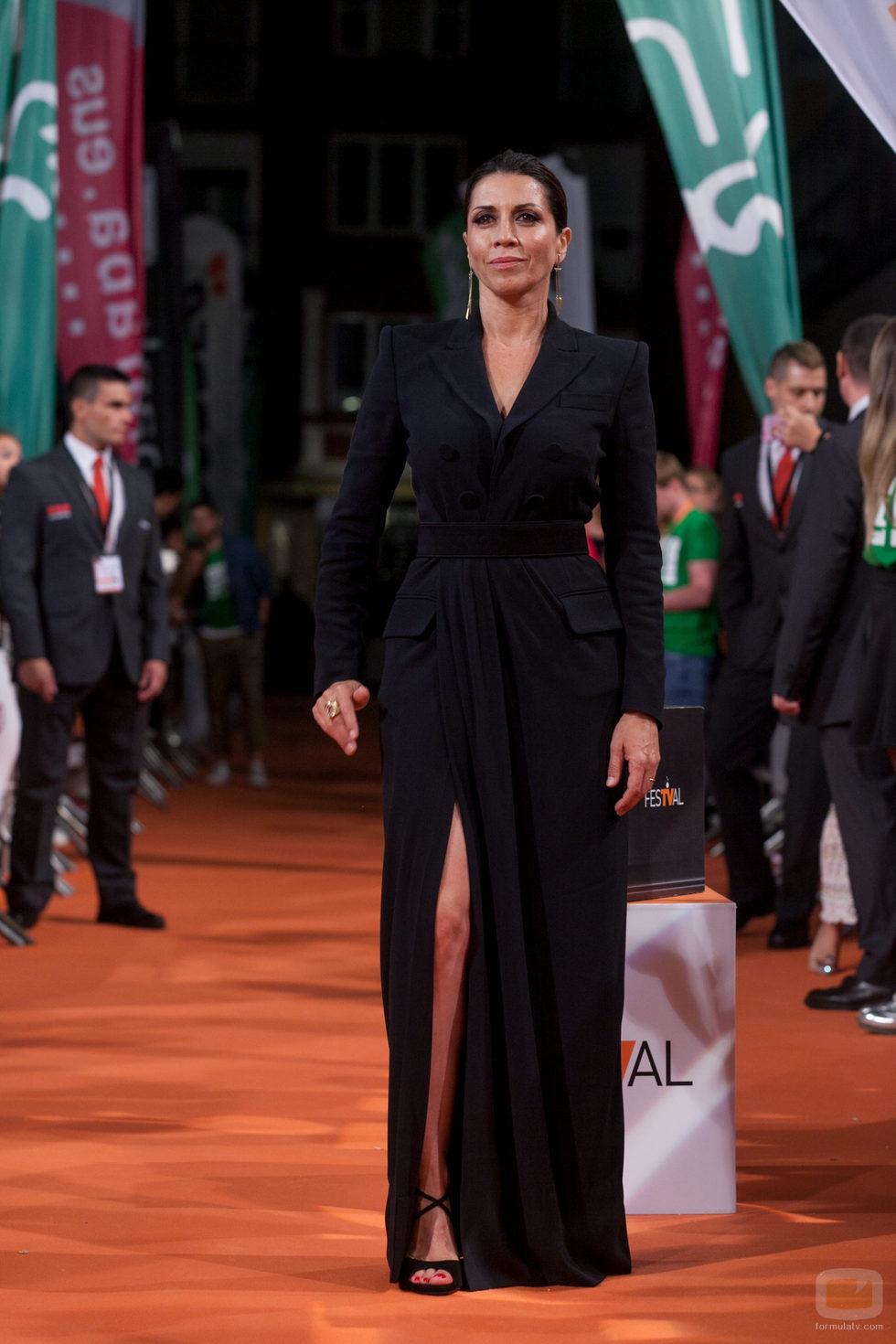 Alicia Borrachero en la alfombra naranja del FesTVal para la presentación de 'Tiempos de guerra'