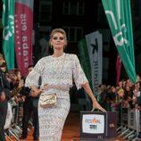Amaia Salamanca en la alfombra naranja del FesTVal para la presentación de 'Tiempo de guerra'