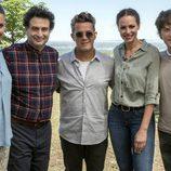 El jurado y presentadora de 'MasterChef Celebrity 2' junto a Alejandro Sanz