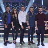 Los coaches de 'La Voz 5' y Jesús Vázquez posan juntos en el plató