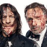 Norman Reedus y Andrew Lincoln ('The Walking Dead') con sangre en la cara