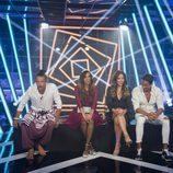 Cuatro concursantes de 'GH Revolution' en la sala de expulsiones durante la gala 3