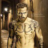 Tormund Matagigantes ('Juego de Tronos') tatuado en una solitaria calle