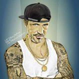 Meñique ('Juego de Tronos') en pose de rapero con tatuajes identificativos