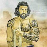 Khal Drogo ('Juego de Tronos') en el Gran Cañón del Colorado, posa totalmente tatuado