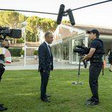 Javier Gutiérrez y el equipo de rodaje en 'Vergüenza'