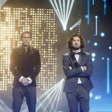 Hugo, Christian Gabaldón y Rubén, los tres finalistas del podio de 'GH Revolution' en la gala final