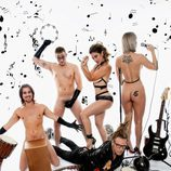 Javián, Àlex y Geno (Fórmula Abierta) posan desnudos junto a Torito e instrumentos musicales para Primera Línea