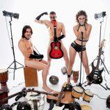 Javián, Àlex y Geno (Fórmula Abierta) posan desnudos con instrumentos musicales para Primera Línea