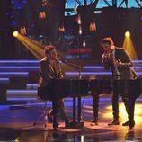 Pablo López y Gabriele cantando en la final de 'La Voz 5'