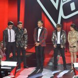 Los cuatro finalistas de 'La Voz' y Jesús Vázquez en el final de 'La Voz 5'