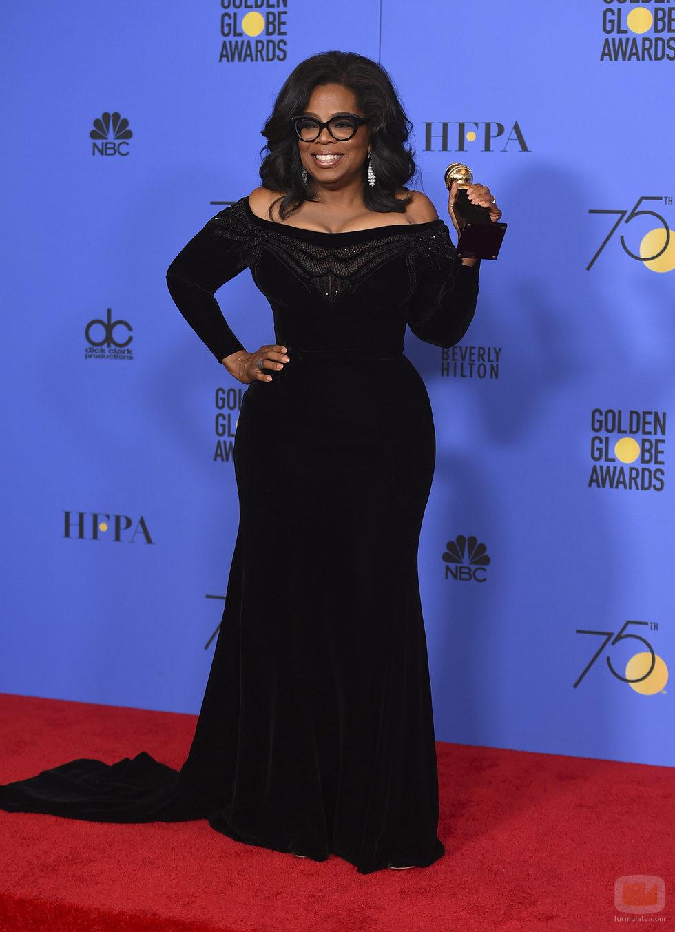 Oprah Winfrey, ganadora del premio honorífico Cecil B. DeMille en lo Globos de Oro 2018