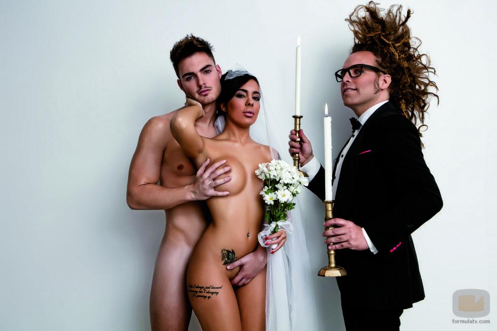 Jaime y Sonia de '¿Quién quiere casarse con mi hijo?' posan junto a Torito para Primera Línea