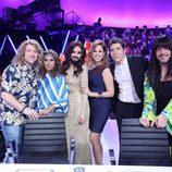 El jurado, Manel Fuentes y Pastora Soler en la Gala de Eurovisión de 'Tu cara me suena'