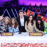 Miembros del jurado y Manel Fuentes en la Gala de Eurovisión de 'Tu cara me suena'