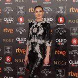Nieves Álvarez posa en la alfombra roja de los Premios Goya 2018