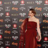 Cuca Escribano posa en la alfombra roja de los Premios Goya 2018