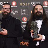 Jon Serrano, David Heras con su Premio Goya 2018 a Mejores efectos especiales