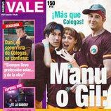 Manuel Feijóo, Lara de Miguel y Fernando Gil en la portada ficticia de Nuevo Vale para 'Colegas'