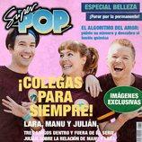 Manuel Feijóo, Lara de Miguel y Julián González en la portada ficticia de Super Pop para la promoción de 'Colegas'