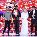 Miquel Fernández, Lucía Gil y Fran Dieli con Manel Fuentes en la gala final de 'Tu cara me suena'