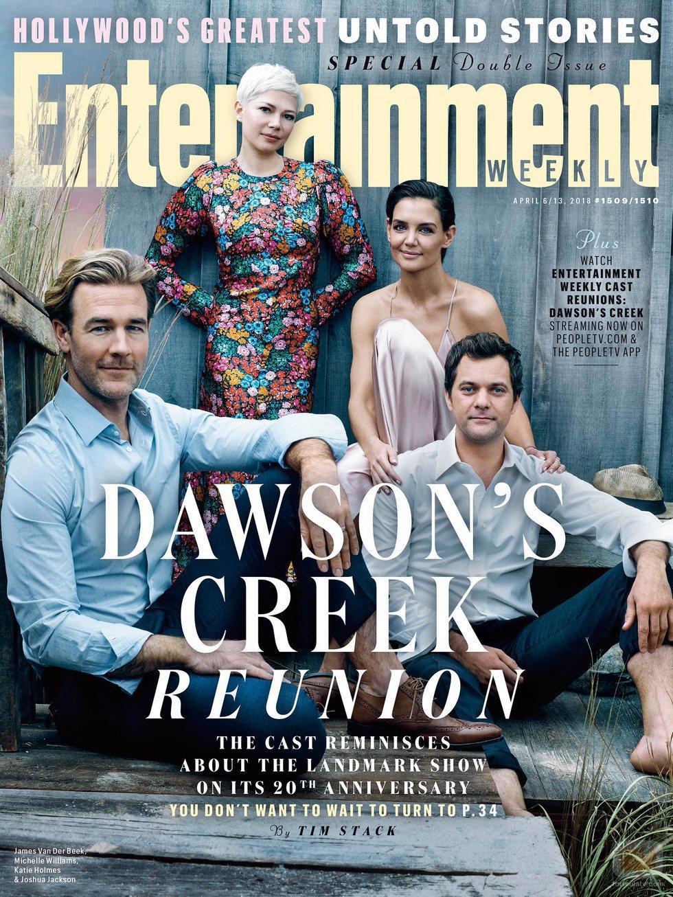 Parte del reparto en una de las portadas de la reunión de 'Dawson crece'