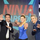Arturo Valls, Patricia Montero y Manolo Lama en la segunda edición de 'Ninja Warrior'