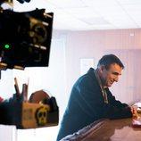 Alfonso Agra en la grabación de 'Fariña'