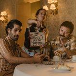 Tamar Novas y Fran Lareu en la grabación de 'Fariña'