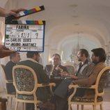 Actores de 'Fariña' grabando una de las secuencias de la serie