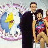 Emilio Aragón, Patricia Pérez y Lydia Bosch posan en el plato de 'El gran juego de la oca'