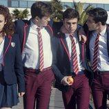 María Pedraza, Miguel Bernardeau, Itzan Escamilla y Álvaro Rico en 'Élite', de Netflix