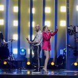 Eye Cue, representantes de Macedonia en Eurovisión 2018, durante su primer ensayo