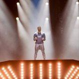 El representante de Austria en Eurovision 2018 Cesár Sampson, en el primer ensayo