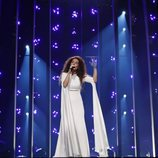 La representante de Grecia, Gianna Terzi, en el primer ensayo de Eurovisión 2018