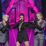 La representante de Finlandia, Saara Aalto, en el primer ensayo de Eurovisión 2018