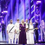 Los representante de Rumanía, The Humans, en su primer ensayo de Eurovisión 2018
