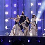Los representantes de Serbia, Sanja Ilic & Balkanika, en su primer ensayo de Eurovisión 2018