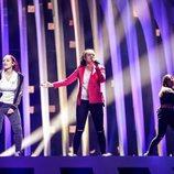 Jessika y Jenifer Brening, representantes de San Marino, en su primer ensayo de Eurovisión 2018