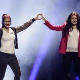 Las representantes de San Marino, Jessica y Jenifer, en su primer ensayo de Eurovisión 2018