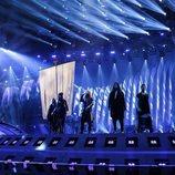 Las representantes de Dinamarca, Rasmussen, en su primer ensayo de Eurovisión 2018