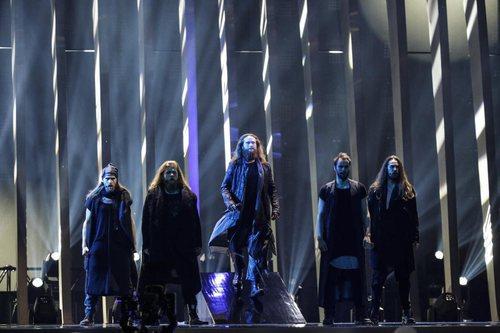 Rasmussen, los representantes de Dinamarca, en su primer ensayo de Eurovisión 2018