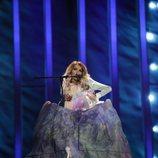 Julia Samoylova, representante de Rusia, en su primer ensayo de Eurovisión 2018