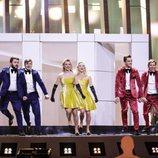 Las representantes de Moldavia, DoReDoS, en su primer ensayo de Eurovisión 2018